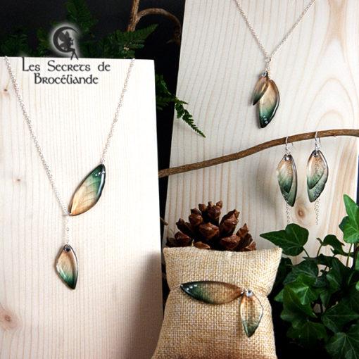 Bijoux ailes de fée de couleur vert et or en résine, monture en argent 925. Fabrication artisanale.