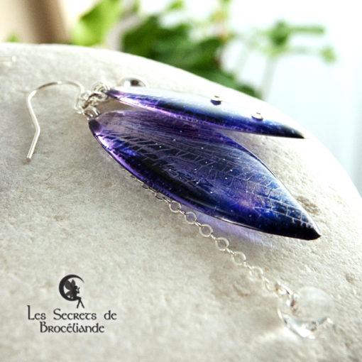 Boucles de fée de couleur violet et rose en résine, monture en argent 925. Fabrication artisanale.