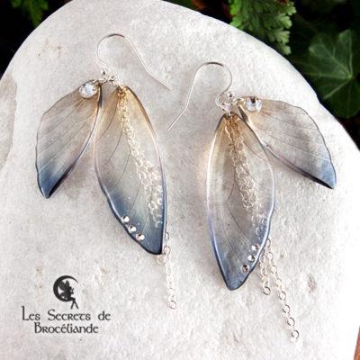 Boucles ailes de fée de couleur bleu et ocre en résine, monture en argent 925. Fabrication artisanale.