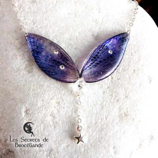 Ras de cou de fée de couleur violet et rose en résine, monture en argent 925. Fabrication artisanale.