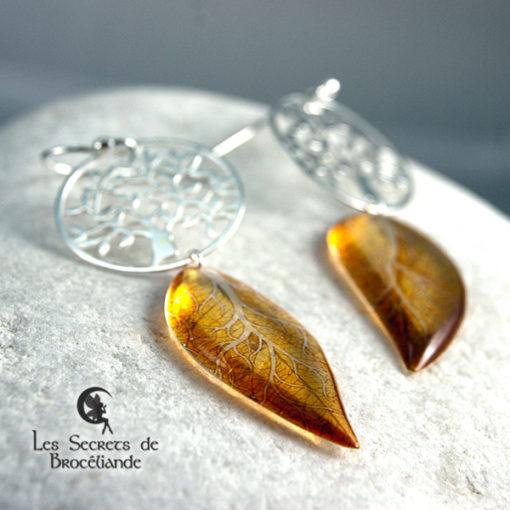 Boucles Arbre de vie de couleur jaune en résine, monture en argent 925. Fabrication artisanale.