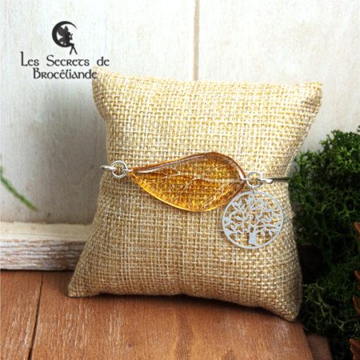Bracelet Arbre de vie de couleur jaune en résine, monture en argent 925. Fabrication artisanale.