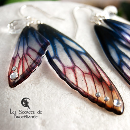 Boucles Brocéliande aux couleurs de l'aurore en résine, monture en argent 925. Fabrication artisanale.