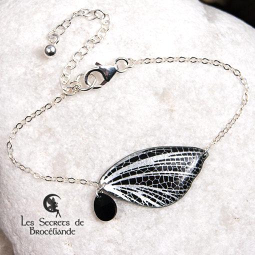 Bracelet féerique de couleur miroir en résine, monture en argent 925. Fabrication artisanale.