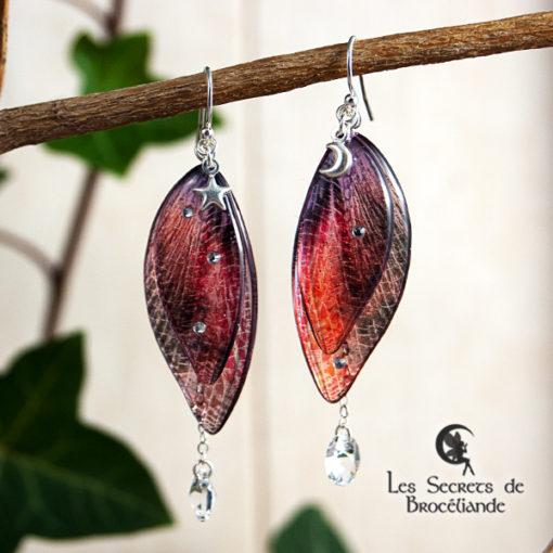 Boucles de fée de couleur orange et rose en résine, monture en argent 925. Fabrication artisanale.