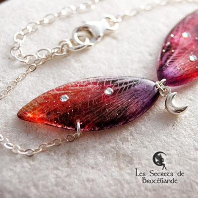 Bracelet de fée de couleur orange et rose en résine, monture en argent 925. Fabrication artisanale.