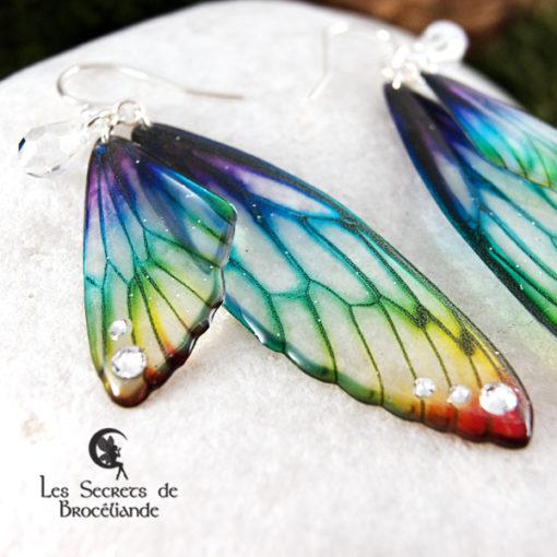 Boucles Brocéliande de couleur arc-en-ciel en résine, monture en argent 925. Fabrication artisanale.