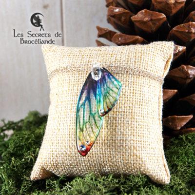 Bracelet Brocéliande de couleur arc-en-ciel en résine, monture en argent 925. Fabrication artisanale.