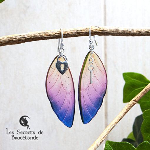 Boucles ailes de fée breloques de couleur violet et orangé en résine, monture en argent 925. Fabrication artisanale.